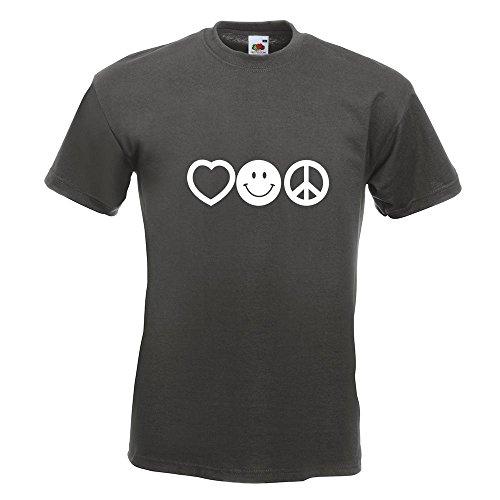 KIWISTAR - Love Happy Peace - Liebe Glück Frieden T-Shirt in 15 verschiedenen Farben - Herren Funshirt bedruckt Design Sprüche Spruch Motive Oberteil Baumwolle Print Größe S M L XL XXL Graphit