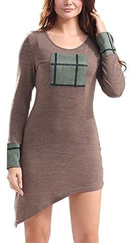 SunIfSnow - Robe spécial grossesse - Plissée - Uni - Manches Longues - Femme - marron - X-Large