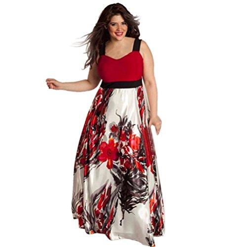 FORH Plus Größe Frau Blumen Gedruckt Lange Lose Ärmellos Abend Party Abschlussball Kleid Formell Kleid (L, Rot) (Babydoll Empire Kleid)