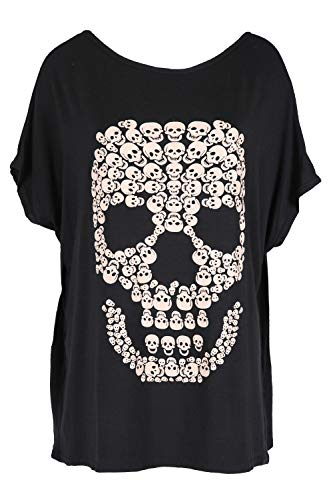 Be Jealous Womens Halloween Party Baggy Lagenlook Top Ladies Spooky Skull  Batwing Scary Loose Fit T 94f875bf4a8
