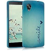 kwmobile Funda para LG Google Nexus 5 - Case para móvil en TPU silicona - Cover trasero Diseño Smile en azul turquesa