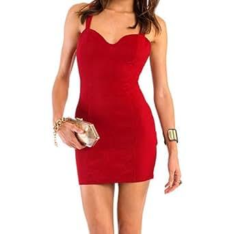 better.dealz - Sexy Zippée Mini Robe Moulant Avec Bertelles Debardeur Bustier Dos Nu Col V Femme Sans Manche Hauts Tops Tunique Slim Bodycon Soirée Party (Large (TAILLE ASIATIQUE), Rouge)