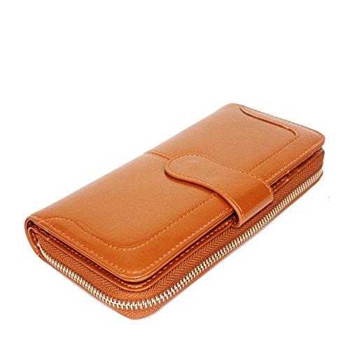 Modelshow Frau Echtleder Geld Clips Mode Langer Abschnitt Hoch Kapazität Brieftasche Kupplung Tasche (Orange) (Geld Brieftasche Lange)