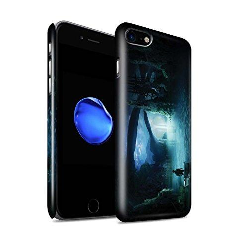 Officiel Elena Dudina Coque / Clipser Brillant Etui pour Apple iPhone 8 / Endroit Calme Design / Fantaisie Paysage Collection Nuit Bateau Voyage