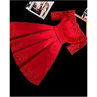 YC una Tostada de la Novia Del Hombro Vestido Rojo Vestido de Dama de Honor Corto Vestido de Noche Del Tamaño Delgado,UN,SG
