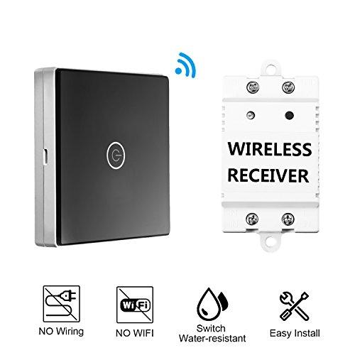 LESHP 1-Weg-Touchscreen Wasserdichter Lichtschalter mit Touch Panel, Schwarz, Plastik, Black, 12 x 12 x 4 cm