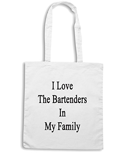 T-Shirtshock - Borsa Shopping BEER0234 I Love The Bartenders In My Family Bianco