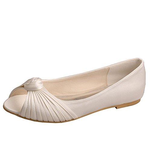 Wedopus Damen Peep Toe Knot Komfort Ballett Schuhe Hochzeit Wohnungen Gr??e 38 Ivory (Wohnungen Ballett Hochzeit)