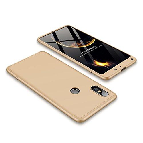 EUDTH Funda Xiaomi Mi Mix 2S, Carcasa Ultra Slim 3 en 1 Estuche Duro Matte Caso para Xiaomi Mi Mix 2S 360 Grados Protección Absorción de Choque Funda - Oro