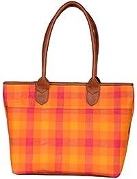 Kalamargam Collective Andhra Cotton & Vegan Leather Tote Bag (Multi-Coloured, KC-TB42)