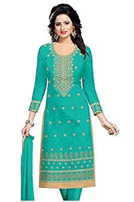 Udaan Women's Chanderi (with Inner) Embroidered Top with Nazneen Dupatta and Cotton Bottom Unstitched Dress Material - PRMS00 - Free Size