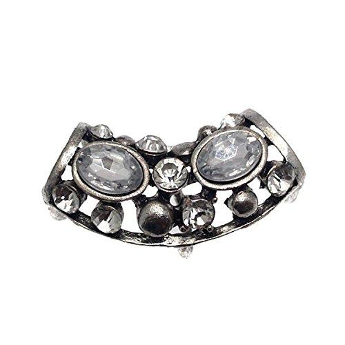 AGRIMONY Antique Silver Crystal Open sciarpa tubo
