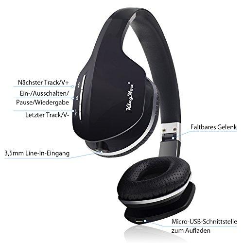 Kingyou Bluetooth Kopfhörer Funk Für Fernseher On Ear Kopfhoerer Kabellos (HD007 Schwarz) - 2