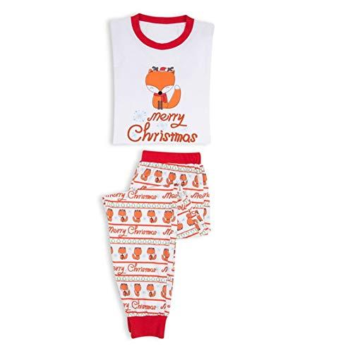 Holiday Family Matching Fox Pajama PJ Sets Merry Christmas Letter Printed Sleepwear 3-8 Years -