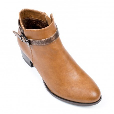 Ideal Shoes - Bottines en similicuir avec sangle Dilana Camel