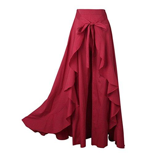 ESHOO Femmes Vintage Jupe Pantalon Taille Haute Rouge