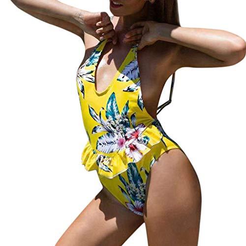 Yvelands Damen Bademode Beachwear gekräuselt 1-teiliger Bikini -