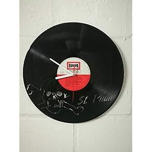 Wanduhr aus Vinyl Schallplattenuhr mit St. Pauli Motiv upcycling design Uhr Wand-deko vintage-Uhr Wand-Dekoration retro-Uhr