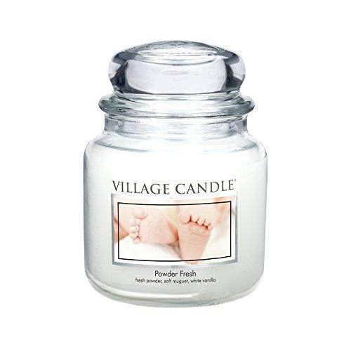 Village Candle Puderfrische Duftkerze im Glas, 454 g, weiß 9.7 x 9.5 cm
