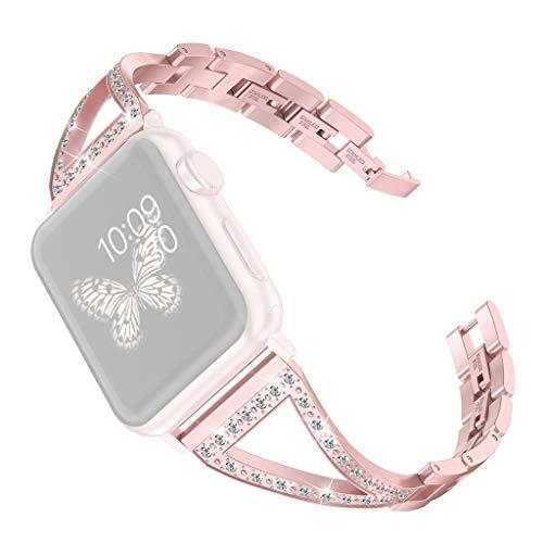 Bearbelly Armband Kompatibel mit Apple Watch 38mm/40mm Edelstahl Strasssteine Aushöhlen Sport Business Ersatz Uhrenarmband Damen Kettenriemen Kreativ Geburtstag Geschenk -
