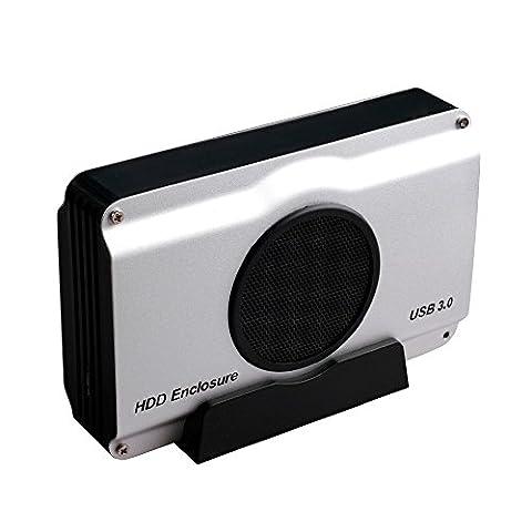 Ronsen 393U3 USB 3.0 HDD SATA Externe Aluminum Boîtier du disque dur Cas avec Intégré Ventilateur pour 3.5 pouces SATA HDD et SSD avec 4 des vis