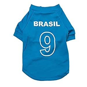 Costume pour Chien T-shirt de football pour animaux de compagnie de football de football 2014 Pull de chien pour maillot de sport à l'extérieur du Brésil Vetement Chien