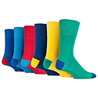 6 Pairs Mens Colourful Blue Red Yellow Green Gentle Grip Cotton Socks, UK Size 6-11
