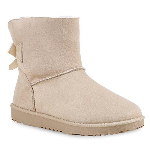 Warm Gefütterte Damen Stiefel Schlupfstiefel Boots Stiefeletten Schuhe 130006 Beige Schleife 37 Flandell -
