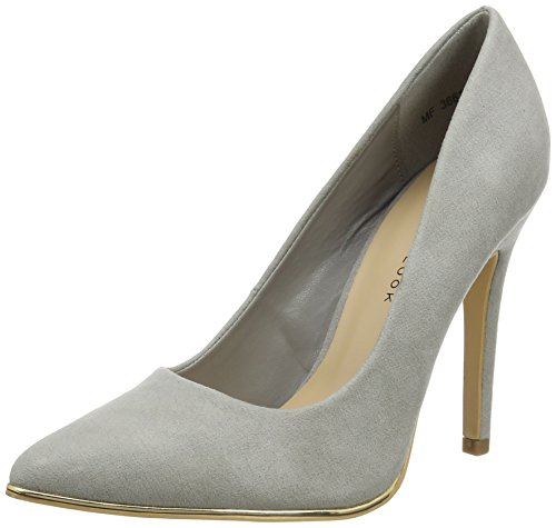 New Look Wide Foot Sciped 2, Escarpins femme - Grey (04/Grey), 38 EU