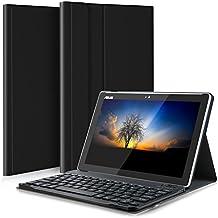 Asus ZenPad 10 Z301MFL / Z301ML / Z300M Teclado Estuche, IVSO Asus ZenPad 10 Z301MFL / Z301ML / Z300M [Teclado QWERTY] Bluetooth Keyboard Case Funda Ultra fino Slim SmartShell con Magnético Desmontable Teclado Bluetooth Inalámbrico Utilizando Altura ajustable para Asus Z301MFL / Asus Z301ML / Asus Z300M Tablet (Negro)