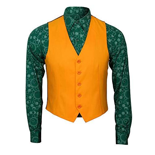 Dailygocn Joker Kostüm Cosplay Anzug Erwachsene Herren T-Shirt Weste Mantel mit Hosen Film Halloween Full Outfit Merchandise (Shirt + Weste, Large)