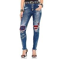 Cipo&Baxx WD319 Baskılı Yırtık Yamalı Bayan Mavi Kot Pantolon