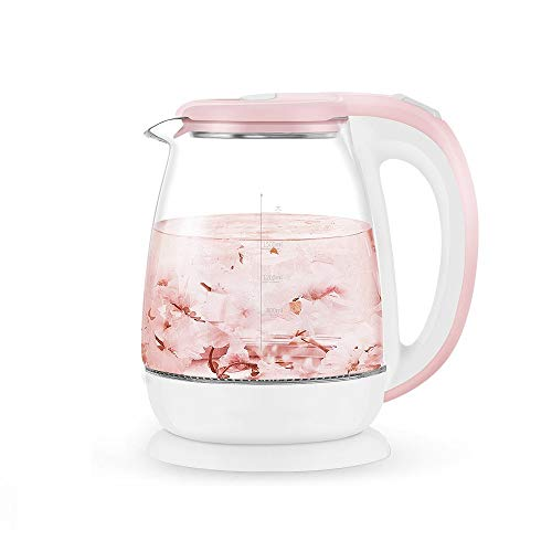 LZK Wasserkocher aus Glas, automatischer Ausschalten des Gesundheitstees im Haushalt, elektrische Teekanne mit 1.8L Kapazität Null/Rosa/Einheitsgröße -