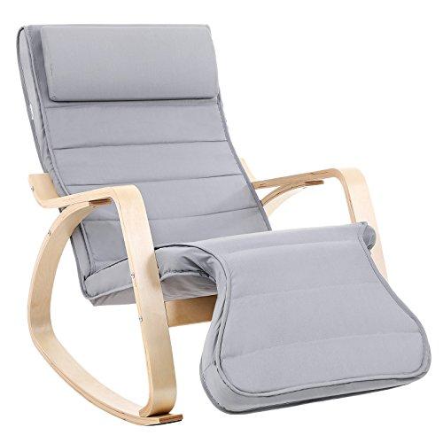 SONGMICS Schaukelstuhl Relaxstuhl 5-Fach Verstellbare Wadenstütze Belastbarkeit 150 kg (Gris Clair)