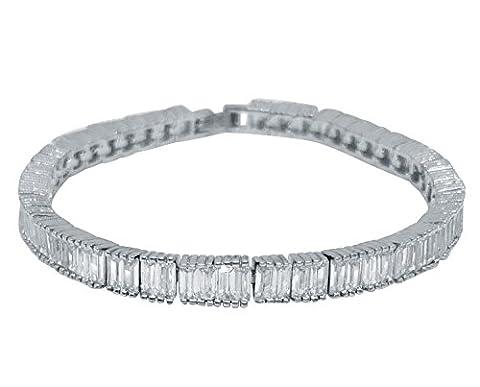 kabuso Tennis Armband 18K Weiß Vergoldet, echter Diamant, glitzernd, Zirkonia Stein (frei Schmuck Beutel)