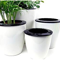 Mkouo Lot de 3 pots à fleurs d'arrosage automatique d'arrosage en plastique PP bureau Home Decor Pots de fleurs -- Blanc, blanc, M