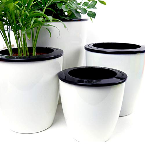 Mkouo 3 Pack Self Watering Plant Pots Indoor Outdoor White Plastic Flower Planter, M