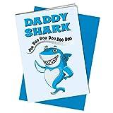 Biglietto di auguri divertente per la festa del papà, con squalo, canzone carina, divertente, figlio e figlia, 1066