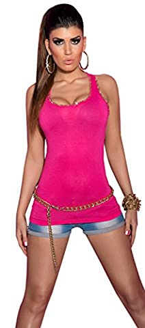 Koucla bretelles-top pour femme avec strass doré chaîne & taille unique (32–38) - Rose - Taille unique