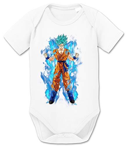 Goku Blue Aura Baby Dragon Son Ball Strampler Bio Baumwolle Body Jungen & Mädchen 0-12 Monate, Größe:62/2-3 Monate, Farbe:Weiss
