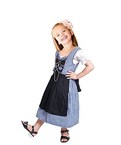 Dik10 Dirndl für Kinder, 3 teiliges Trachtenkleid in blau weiß, Kleid mit Bluse und schwarzer Schürze für Mädchen, Gr. 134