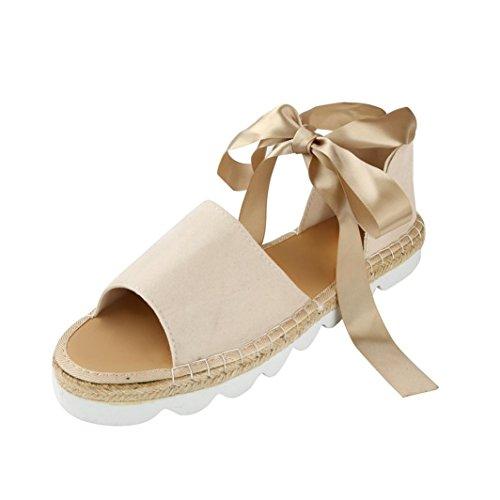 Damen Sandalen Ronamick Sommer Damen Flache Lace up Espadrilles Sommer Klobige Urlaub Sandalen Schuhe Größe (41, Beige) (Lace-up-espadrille)