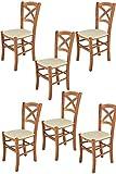 Tommychairs 6er Set Stühle Cross Robuste Struktur aus lackiertem Buchenholz im Farbton Kirschbaum und Sitzfläche mit Kunstleder in der Farbe Elfenbein bezogen