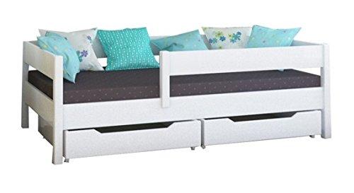 *Toddler Miki Kinder Einzelbett mit Schubladen, 4Farben, viele verschiedenen Größen -, holz, weiß, 200×90*