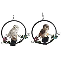 SUREH 2PCS Hanging Solar Lights Outdoor Owl Shape Solar Powered Led Lamp Decoy Hanging Outdoor Wind Chimes Lights Decorative Waterproof Garden Lights Backyard Pathway Resin Decor