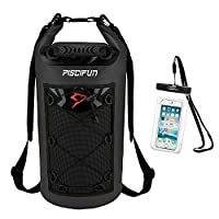 Piscifun Waterproof Dry Bag Backpack Floating Dry Backpack for Water Sports - Fishing Boating Kayaking Surfing Rafting Camping Gifts for Men and Women Free Waterproof Phone Case Black 30L