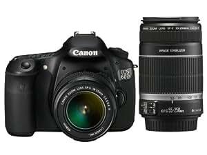 Canon EOS 60D SLR-Digitalkamera (18 Megapixel, Live-View, Full HD-Movie) Kit inkl. EF-S 18-55mm IS II und EF-S 55-250mm IS II Objektiv (bildstabilisiert)