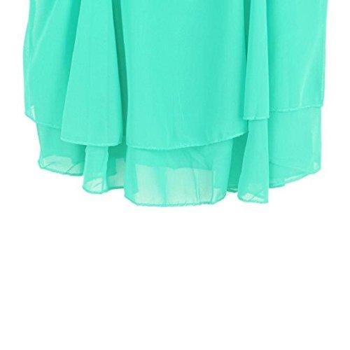 Chemise sans manches pour femme, Transer ® Femmes sexy chemisier en mousseline de soie irrégulière sangle chemise imprimé Floral caraco gilet Vert