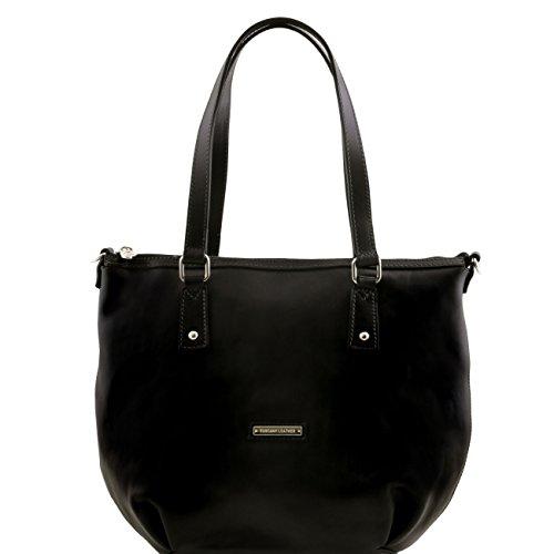 Tuscany Leather Olga - Sac shopping en cuir - Grand modèle Noir Sacs à bandoulière en cuir Noir