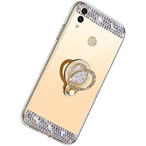 Herbests Kompatibel mit Huawei Honor 8C Hülle Glitzer Kristall Strass Diamant Silikon Handyhülle mit Ring Halter Ständer Schutzhülle Überzug Spiegel Clear View Handytasche,Gold